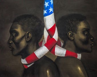 Live Together or Die Together By Laurie Cooper ,Canvas Art (27x20),Black Art,African American Art.