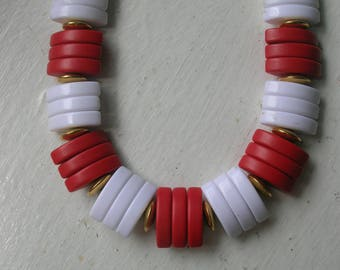 Vintage 1960's Necklace // Red and White Eliptical Beads // Adjustable Length 14-16""