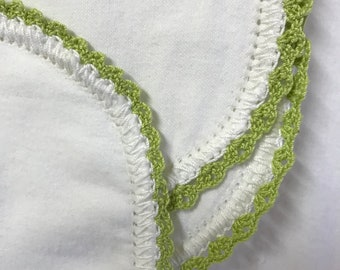 Hemstitched flannel baby blanket receiving swaddle crochet christening