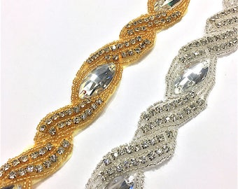 "1 1/4""  Crystal Beaded Rhinestone Trim Gold-Silver #GY6639"