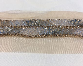 1 yard Rhinestone trim,Applique trim,Bridal Applique,DIY Weddings, Trim, Rhinestone applique, Crystal sash, Bridal sash hand made #81057/HBT