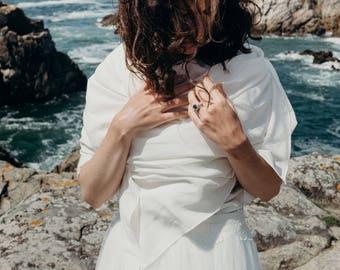 Bridal silk crepe scarf