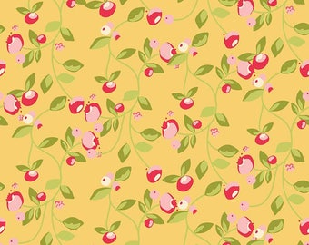 Yellow Floral Fabric - Riley Blake Hello Gorgeous Mustard Floral Fabric - Yellow with Rosebud Fabric