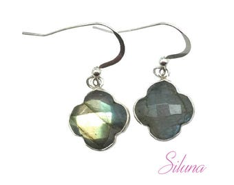 Earrings dangling clover 925 sterling silver and labradorite
