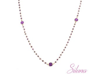 Amethyst necklace, Rosary in vermeil (sterling silver 925 gold plated)