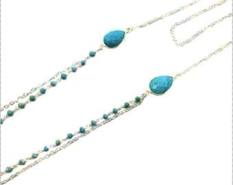 Necklace 2 rows of 925 sterling silver and turquoise