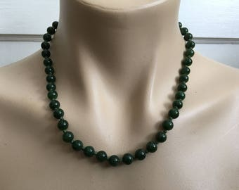 "Vintage Hand Knotted Chinese 18"" Long Spinach Green 5.5mm Jade Bead Necklace 37 G"