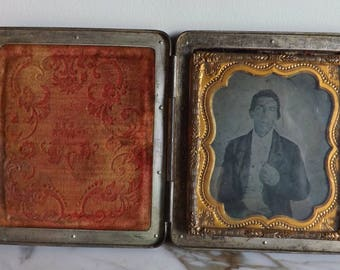 Beautiful Antique Daguerreotype of man in Silver Frame