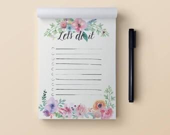 Cute to do list notepad A6. Flora to do list. Daily to do list notepad. Things to do list notepad. Small to do list notebook. To do list pad