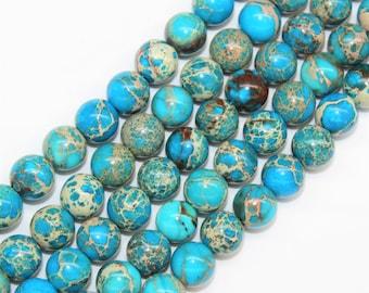 2mm Hole Blue Imperial Jasper Gemstone Round Loose beads 8/10/12mm