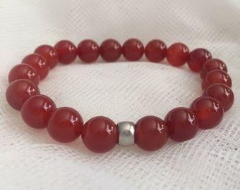Red Jade Carnelian gemstone stretch yoga Balance mala prayer bead stack bracelet