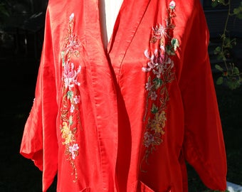 80s Red Embroidered Silk Chinese Robe