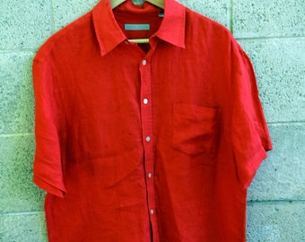 Oversized Red Linen Shirt by Goodies and Co