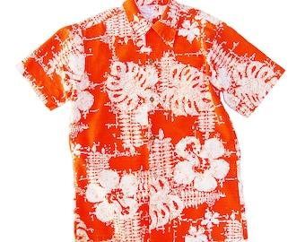 Men's Vintage SEARS Hawaii collection Bark Cloth Hawaiin Print Button Down Shirt Orange and White Hibiscus + Split Leaf Monstera