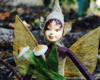 "Fae Folk® Fairies - ZIGGY - Woodland Elf. Bendable, posable 5"" soft doll can sit, stand, or hang."