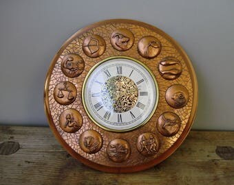"""Vintage,Hungarian Zodiac copper wall clock,alram clock,copper case ,reliefs,embossed  astrological signs,Mid Century clock,9.5"""""""