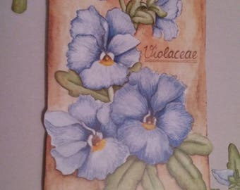 "Card 3D ""bouquet of violets"""