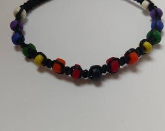 Hemp bracelet, rainbow hemp bracelet, macrame bracelet, handmade hemp bracelet, asymmetrical bracelet
