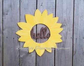 Wood door hanger, sunflower, hello, wood sign, spring, summer, summer decor, hello sign