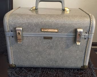 Gray Marbled Towncraft Train Case Luggage