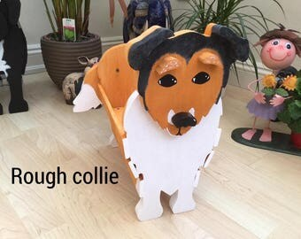 ROUGH COLLIE, wooden,garden,planter,garden,ornament,decoration