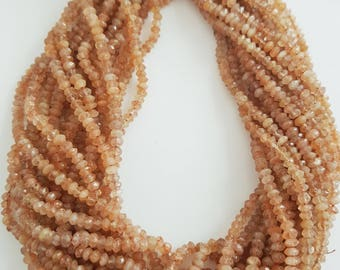 """Sunstone Faceted Rondelle, 13"""" inch strand -- 3 to 4mm"""
