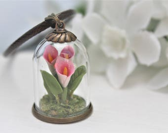 Flower Terrarium Necklace Flower Necklace Calla Lily Necklace Calla Lily Bottle Necklace Clay Miniature Flower Necklace Floral Necklace