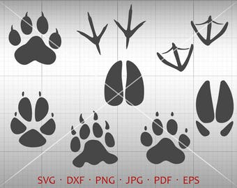 Animal Tracks SVG, Hunting SVG, Paw Prints Clipart Silhouette Cricut Cut File Commercial Use