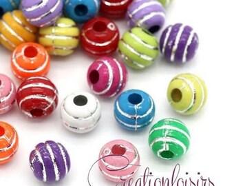 50 multicolored stripe silver 7 mm acrylic beads