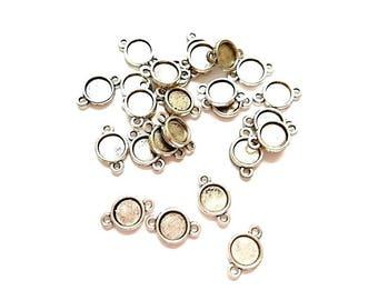 50 antique silver round connectors (suitable for Cabochon 8.3 mm Dia)
