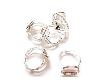5 rings adjustable silver plated round (Compatible Cabochon: 14mm)