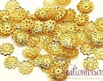 100 caps openwork flower Gold 8 mm pearls