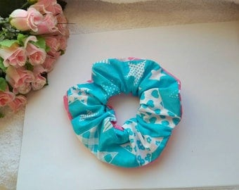 100% cotton scrunchies pink-blue color with stars, scrunchy, ponytail holder, women scrunchie, large scrunchie, scrunchies, big scrunchie