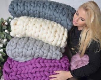 Chunky knit blanket, giant knit blanket, merino wool blanket, chunky blanket, chunky knit throw, large knit blanket, big knit blanket