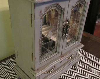 SOLD ** Vintage Charcoal Gray Jewelry Box Armoire Stained Glass Paisley Shabby Chic French Country Distressed