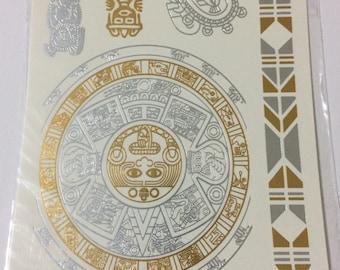 The Rock Dwayne Johnson Samoan Polynesian Tribal Festival Aztec Tattoo - Metallic Flash Tattoo Style #50