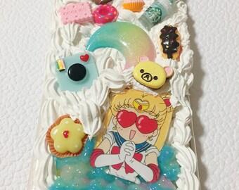 Cute DIY whipped cream decoden phone case-Sailor Moon- Good quality