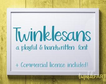 TwinkleSans font | Handwriting font + commercial license! | Handlettered font, hand drawn font, commercial use font