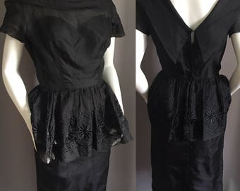 40's 50's Black PEPLUM dress