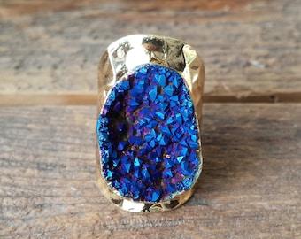 Indigo Druzy Ring