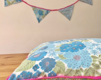 Cotton pillowcase, floral pillow, kids room pillow, cushion baby's room