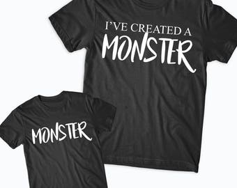 Help I've Created a Monster shirts - Mother's Day, Mommy and me, Matching shirts - Fathers Day, Shirt set, Monster shirt Father Son, Funny