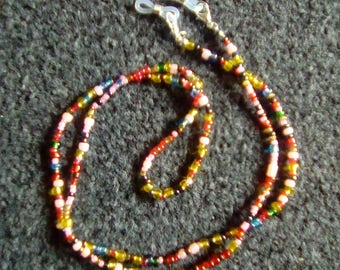 LoliRosa Seed Bead Spectacles Glasses Chain Necklace