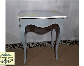 Side table, Painted furniture, Small vintage desk, computer table,Grey furniture, TV table, Small wood Desk, Auxiliary Furniture, Entry unit