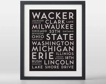 Chicago USA City Streets Typography Art Print