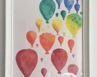 Rainbow Hot Air Balloon watercolour