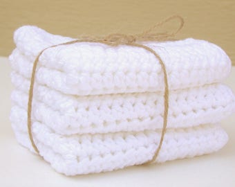 White Crocheted Washcloth / Cotton Washcloth  / Face Cloth / Dishcloth / Soft Washcloth / Housewarming Gift / Bridal Shower Gift