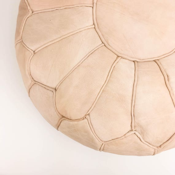 Round Leather Moroccan Pouf - Piping on Seams - Natural
