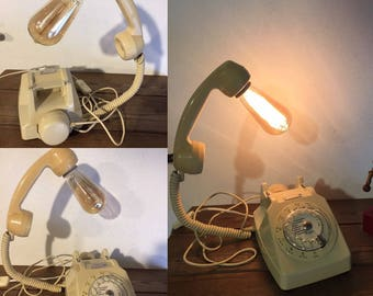 Upcycled vintage ivory phone old dial has loft deco lamp