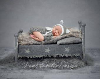 Newborn Digital Background - Starry Grey Bed